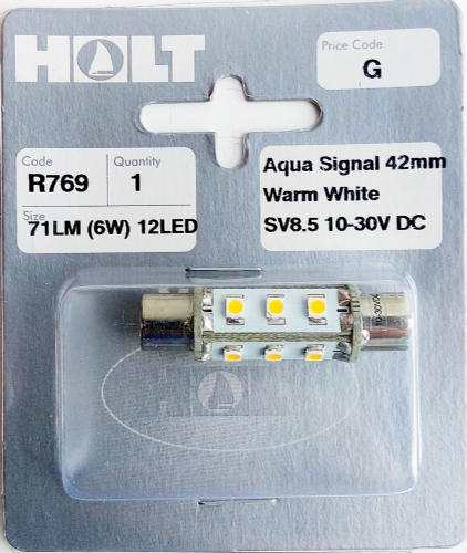 Holt Aqua Signal 42mm Warm White Dimple End 12 LED Bulb